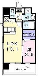 JR篠栗線 柚須駅 徒歩12分の賃貸マンション 6階1LDKの間取り