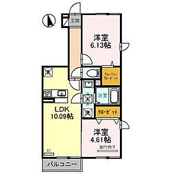 サンロイヤル 1階2LDKの間取り