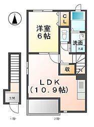 愛知県北名古屋市西之保清水田の賃貸アパートの間取り