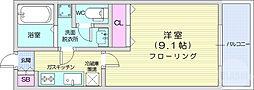 リビングステージ広瀬川 1階1Kの間取り