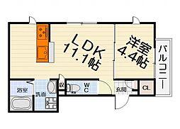 南海線 浜寺公園駅 徒歩8分の賃貸マンション 3階1LDKの間取り