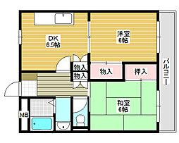 ロータリービルド南花田[2階]の間取り