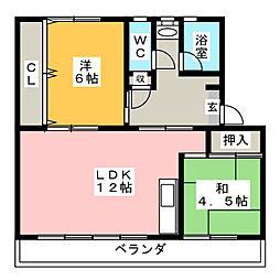 リバーサイドハイツ丸山A[4階]の間取り