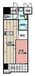 ウイングス西小倉 9階1LDKの間取り