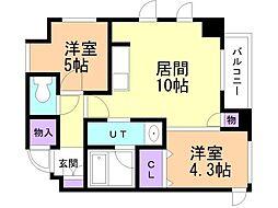 クリオ札幌大通 9階2LDKの間取り