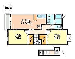 ヴィラポポラーレ1[2階]の間取り