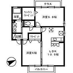 ディアコートK B棟[202号室]の間取り
