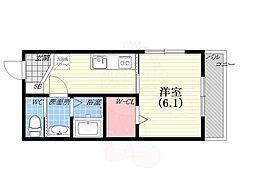 阪神本線 西宮駅 徒歩8分の賃貸マンション 3階1Kの間取り