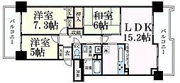 RICイーストコート10番街3番館 3階3LDKの間取り