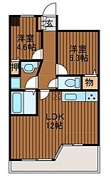 LANAIGARDENSHINYURIWEST[9階]の間取り