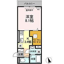 JR可部線 安芸長束駅 徒歩16分の賃貸アパート 1階1Kの間取り
