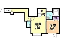 サマセット・ハウス弐番館 2階1LDKの間取り