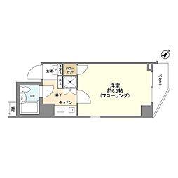 菱和パレス中目黒 5階1Kの間取り