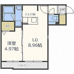 JR学園都市線 新琴似駅 徒歩1分の賃貸マンション 2階1LDKの間取り