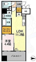 Trio Mare 蔵前 11階1LDKの間取り