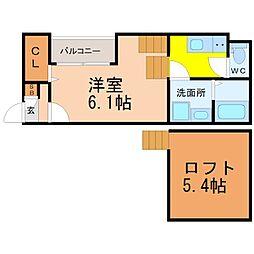 愛知県名古屋市東区矢田1丁目の賃貸アパートの間取り