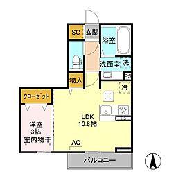 JR中央本線 岡谷駅 バス16分 今井西下車 徒歩6分の賃貸アパート 3階1LDKの間取り