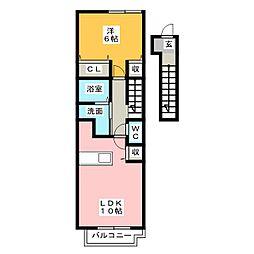 フローラ北館 B[2階]の間取り
