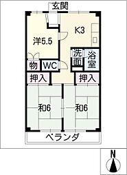国枝ハイツ[4階]の間取り