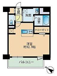 福岡市地下鉄七隈線 薬院大通駅 徒歩3分の賃貸マンション 10階ワンルームの間取り