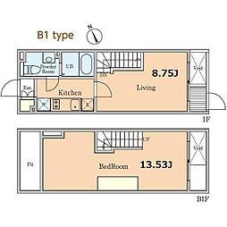 東京メトロ東西線 高田馬場駅 徒歩4分の賃貸マンション 1階1LDKの間取り