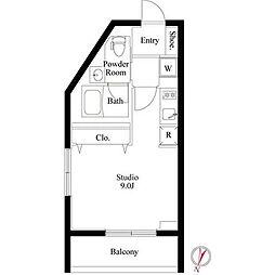 東急東横線 都立大学駅 徒歩8分の賃貸マンション 1階ワンルームの間取り