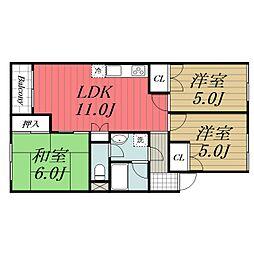 京成本線 公津の杜駅 徒歩20分の賃貸アパート 2階3LDKの間取り