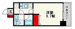 ドミール西新 3階1Kの間取り