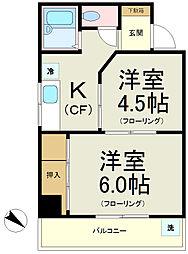 JR山手線 大塚駅 徒歩4分の賃貸マンション 4階2Kの間取り