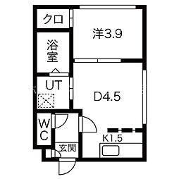 knowledge円山 4階1DKの間取り