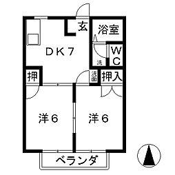 滋賀県栗東市上鈎の賃貸アパートの間取り