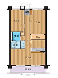ハートフルマンションエクセラン[2階]の間取り