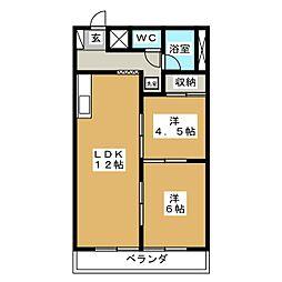 竹林マンション2[2階]の間取り