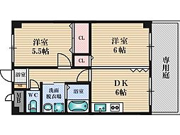 ASK21 1階2DKの間取り