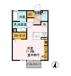オークII 2階ワンルームの間取り