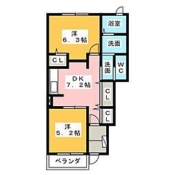 静岡県静岡市清水区蒲原の賃貸アパートの間取り