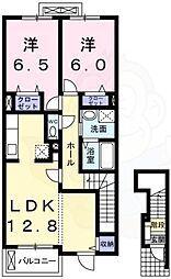 泉北高速鉄道 深井駅 徒歩20分の賃貸アパート 2階2LDKの間取り