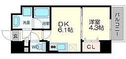 サムティガーデン江坂II 1階1DKの間取り