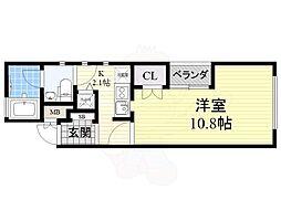 京阪本線 樟葉駅 徒歩11分の賃貸マンション 1階1Kの間取り
