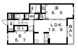 クレール月美野III番館[305号室号室]の間取り