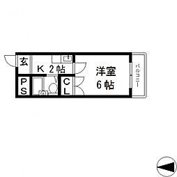 OMレジデンス八戸ノ里[608号室号室]の間取り