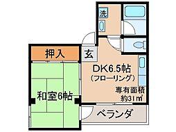 京都府京都市伏見区下鳥羽中三町の賃貸マンションの間取り