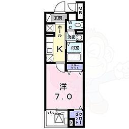 阪急京都本線 南茨木駅 徒歩15分の賃貸マンション 2階1Kの間取り