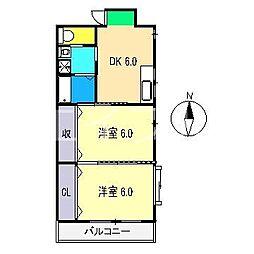 レガロ北竹島[2階]の間取り