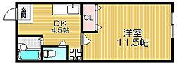 京阪本線 大和田駅 徒歩15分の賃貸マンション 2階1DKの間取り