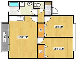 マイカル津福[211号室号室]の間取り