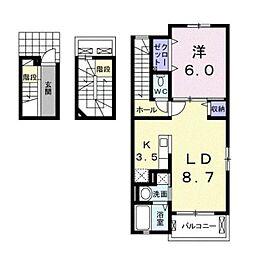 愛知県豊明市阿野町稲葉の賃貸アパートの間取り