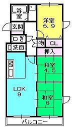 ボヌール甲子園[302号室]の間取り