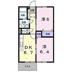 福岡県北九州市八幡西区美原町の賃貸アパートの間取り
