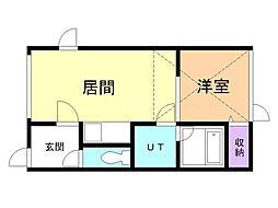 KKハウス 2階1DKの間取り